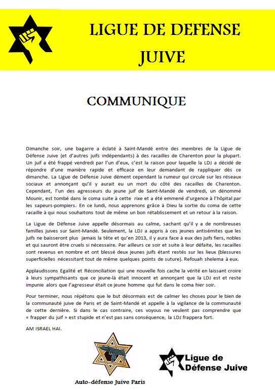 Suite de l'agression de la LDJ à Saint-Mandé, la baudruche se dégonfle ! dans actu 946897_609502399060869_1813302043_n
