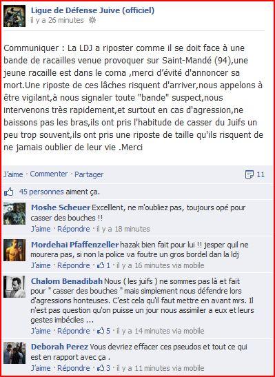La LDJ revendique l'agression d'un jeune, actuellement dans le coma ! Saint-Mandé dans actu capturer-ldl-aggression
