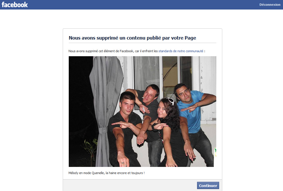 Blog La Quenelle harcelé par Facebook pour des photos